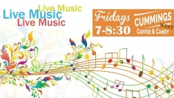 "Image of music notes and the words,  ""Live Music Fridays 7-8:30 Cummings West"""