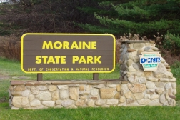 Moraine State Park welcome sign