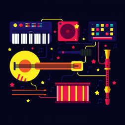 a graphic of a variety of instruments